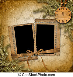 Antique clock face with and fir tree on the abstract background
