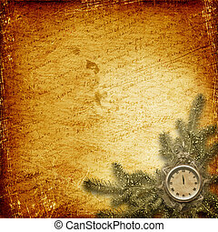 Antique clock face with lace and fir tree on the abstract backgro