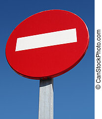 No entry road sign close up.