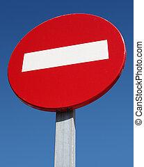 No entry road sign close up.