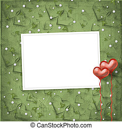 Valentines day card with hearts on the abstract green...