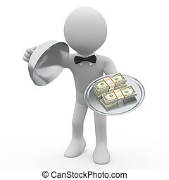 Waiter serving wads of dollars - Waiter serving tray five...