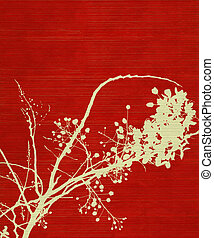 Blossom Branch Print on Red Background