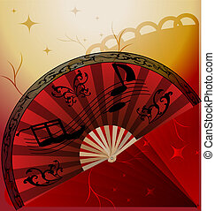 flamenco fan - on an abstract background of a large red...