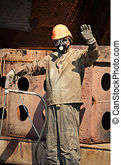Man in radiation protection suit - Man in chemical...