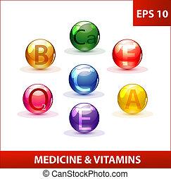 colored medicine capsules set
