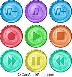 Playback buttons - Set vector various icons, media player...
