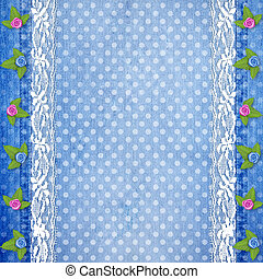 Abstract blue jeans background with lace and buttonhole for...