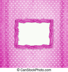 Abstract pink jeans background with hole for design