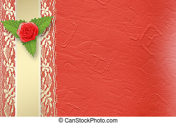 Card for invitation or congratulation with buttonhole and...