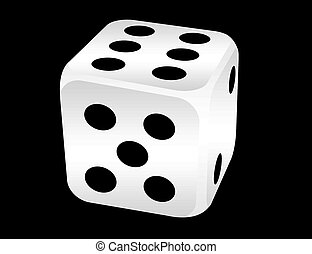 black and white dices over black background.illustration