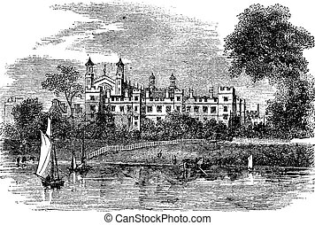 Eton College in Windsor, England, United Kingdom, vintage...
