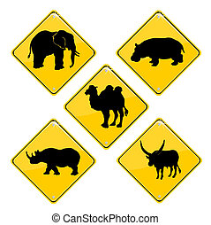 African traffic signs - Yellow signs with African animals