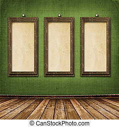 Old gold frames Victorian style on the wall in the room