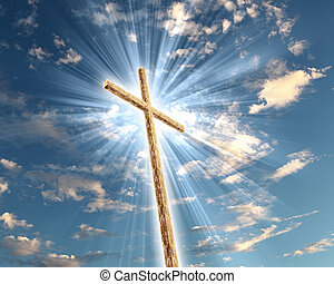 Christian cross against the sky
