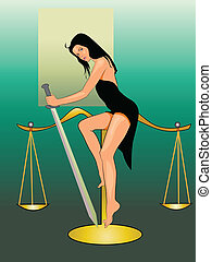 Lady justice - Vector graphic illustration of sexy lady...