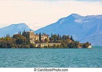 Palace on Lake Garda in Italy Horizontal shot