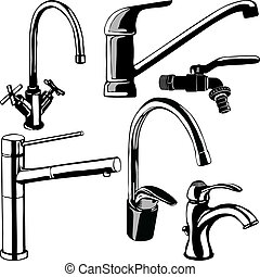 Various taps and fountains