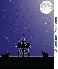 Oil platform in the moonlight