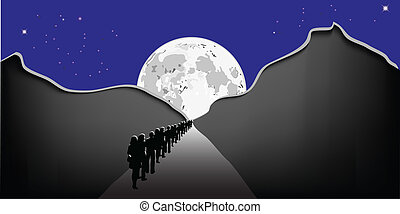 People in the moonlight