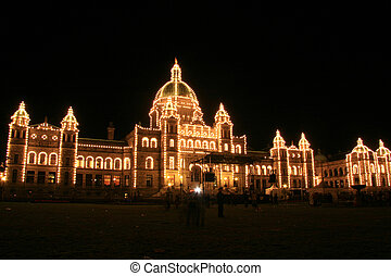 Parliament Buildings by Night , Victoria, BC, Canada -...