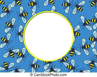 Bee Border - Artistic photo frame border design made up of a...