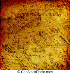 Abstract ancient background with letters and notes in...