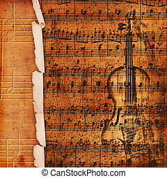 Cover for musical album with sketch of old violin