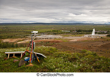 Security camera in nature - Iceland. Geysir