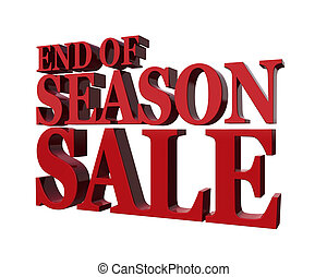 End od season sale. Promotional message in red isolated on a...