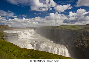 Gullfoss big waterfall - Iceland.