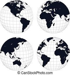Earth globes, black and white detailed vector illustration