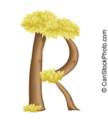 The letter R in the form of a tree