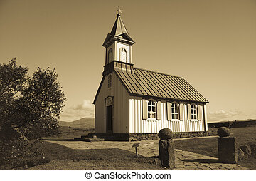 White church in Thingvellir - Iceland - White church in...