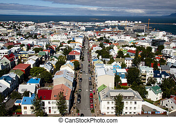 Aerial view from Hallgrimskirkja church - Iceland
