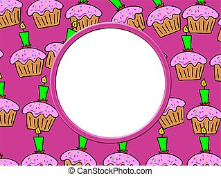 Cake Border - Whimsical birthday cake frame border design...