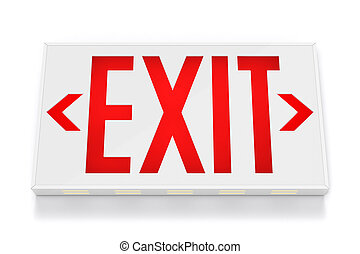 Emergency Exit Sign on White Background with clipping path