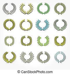 Set of crown laurel wreaths.