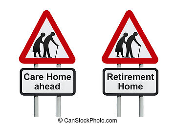 Care Home warning roadsign - Care Home ahead warning...