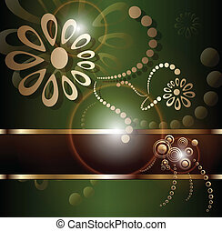 Vintage background with floral gold ornament at and sun...
