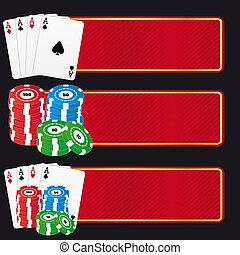 Casino banner - Set of three casino banner with aces and...