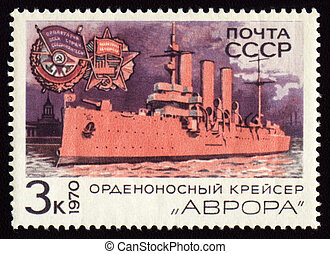 Post stamp with russian cruiser Aurora - USSR - CIRCA 1970:...