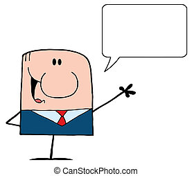Businessman With Speech Bubble - Cartoon Doodle Businessman...