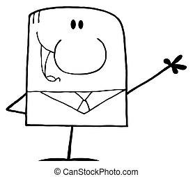 Cartoon Doodle Businessman Waving