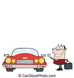 Businessman And Convertible Car