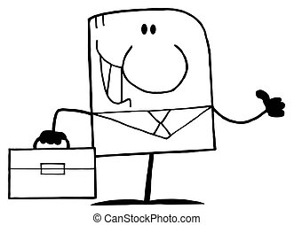 Outlined Businessman Cartoon - Outlined Cartoon Doodle Happy...