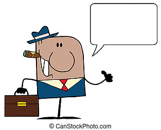 American Businessman Cartoon Doodle Businessman Holding A...