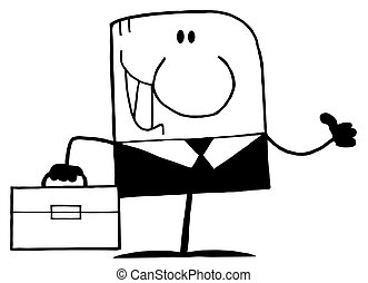 Businessman Holding A Thumb Up - Outlined Businessman...
