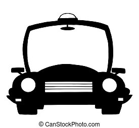 Police Cartoon Silhouette Car - Black And White Police...