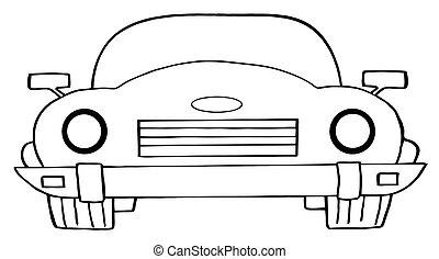 Cartoon Convertible Car - Outlined Convertible Car